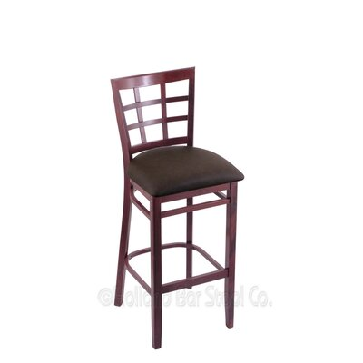 25 Bar Stool Finish: Dark Cherry, Upholstery: Rein Coffee