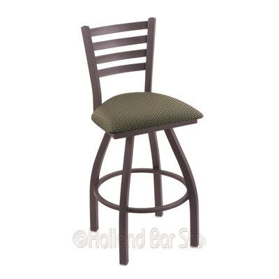 Jackie 36 inch Swivel Bar Stool Upholstery: Axis Grove, Finish: Pewter