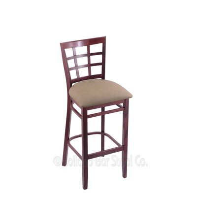 25 Bar Stool Finish: Dark Cherry, Upholstery: Rein Thatch