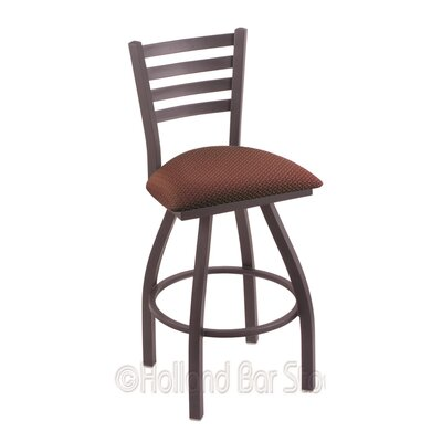 Jackie 25 Swivel Bar Stool Finish: Pewter, Upholstery: Axis Paprika