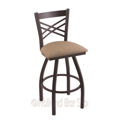 Catalina 25 Swivel Bar Stool Finish: Black Wrinkle, Upholstery: Rein Thatch