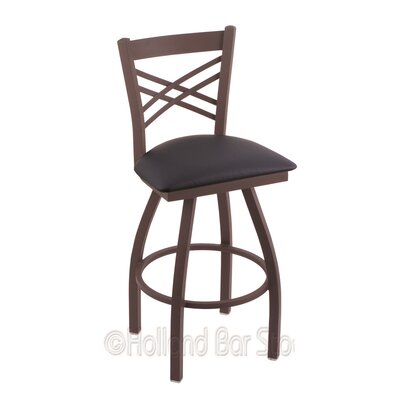 Catalina 30 Swivel Bar Stool Finish: Bronze, Upholstery: Allante Dark Blue