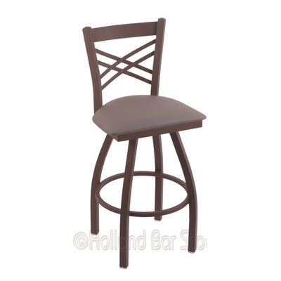 Catalina 25 Swivel Bar Stool Finish: Bronze, Upholstery: Allante Medium Grey