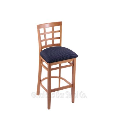 25 Bar Stool Finish: Medium, Upholstery: Axis Denim