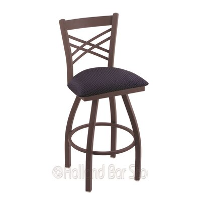 Catalina 36 Swivel Bar Stool Finish: Bronze, Upholstery: Axis Denim