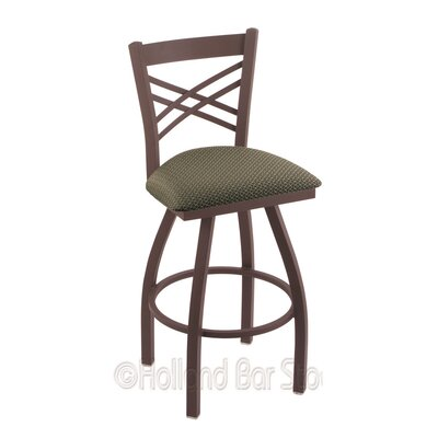 Catalina 25 Swivel Bar Stool Finish: Bronze, Upholstery: Axis Grove