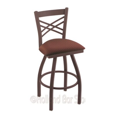 Catalina 25 Swivel Bar Stool Finish: Bronze, Upholstery: Axis Paprika