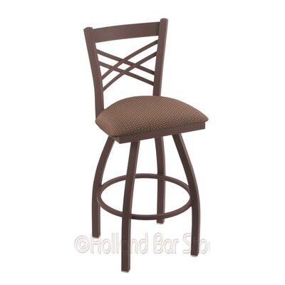 Catalina 25 Swivel Bar Stool Finish: Bronze, Upholstery: Axis Willow