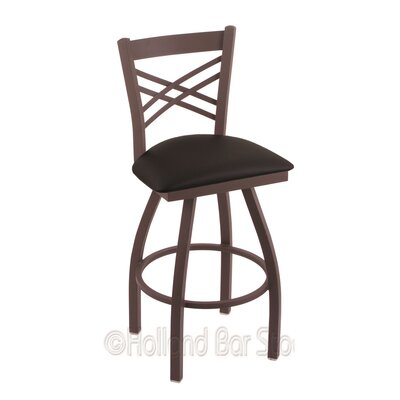 Catalina 25 Swivel Bar Stool Finish: Bronze, Upholstery: Black Vinyl