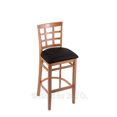25 inch Bar Stool Upholstery: Black Vinyl, Finish: Medium