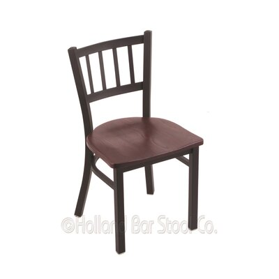 Contessa Solid Wood Dining Chair Base Finish: Black Wrinkle, Upholstery: Dark Cherry Oak