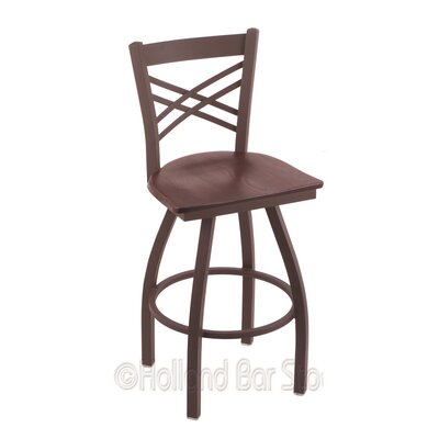 Catalina 25 Swivel Bar Stool Base Finish: Bronze, Upholstery: Dark Cherry Oak