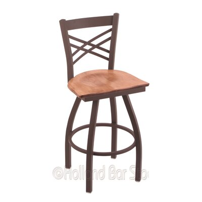 Catalina 30 Swivel Bar Stool Base Finish: Bronze, Upholstery: Medium Maple