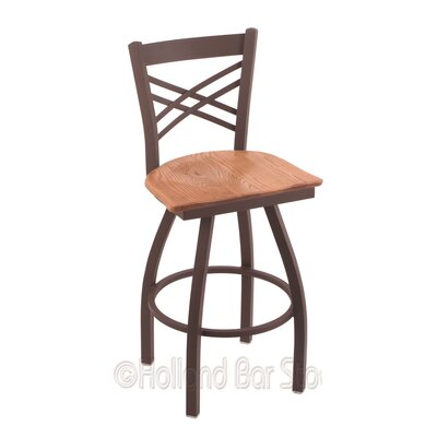 Catalina 36 Swivel Bar Stool Base Finish: Bronze, Upholstery: Medium Oak