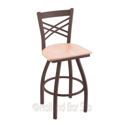 Catalina 30 inch Swivel Bar Stool Upholstery: Natural Maple, Base Finish: Bronze