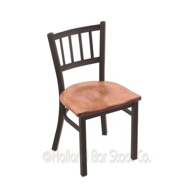 Contessa Solid Wood Dining Chair Base Finish: Black Wrinkle, Upholstery: Medium Maple