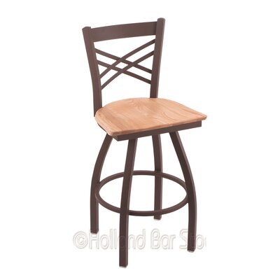 Catalina 30 Swivel Bar Stool Base Finish: Bronze, Upholstery: Natural Oak