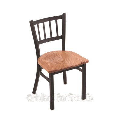 Contessa Solid Wood Dining Chair Base Finish: Black Wrinkle, Upholstery: Medium Oak