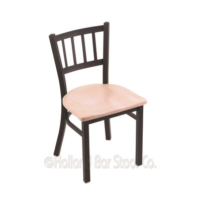 Contessa Solid Wood Dining Chair Upholstery: Dark Cherry Maple, Base Finish: Anodized Nickel