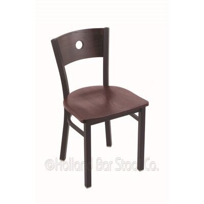 Voltaire Solid Wood Dining Chair Base Finish: Black Wrinkle, Upholstery: Dark Cherry Oak