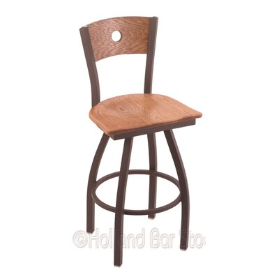 Voltaire 30 Swivel Bar Stool Base Finish: Bronze, Upholstery: Medium Oak
