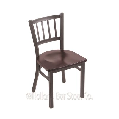 Contessa Solid Wood Dining Chair Upholstery: Dark Cherry Maple, Base Finish: Pewter