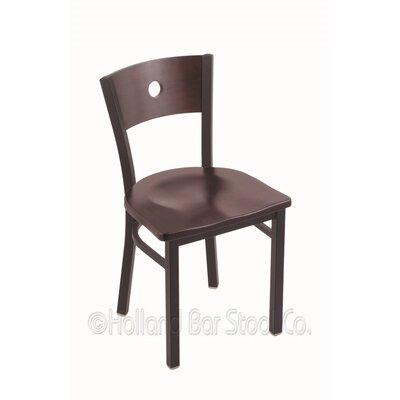 Voltaire Solid Wood Dining Chair Base Finish: Black Wrinkle, Upholstery: Dark Cherry Maple