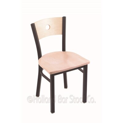 Voltaire Solid Wood Dining Chair Base Finish: Black Wrinkle, Upholstery: Natural Maple
