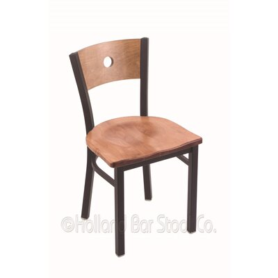 Voltaire Solid Wood Dining Chair Base Finish: Black Wrinkle, Upholstery: Medium Maple