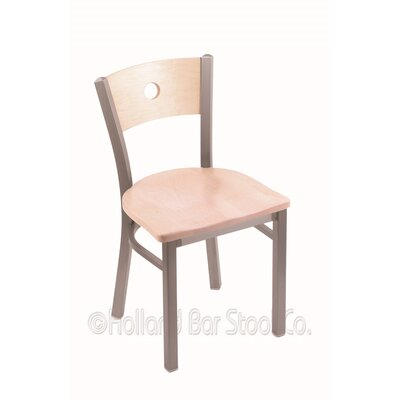 Voltaire Solid Wood Dining Chair Upholstery: Natural Maple, Base Finish: Stainless