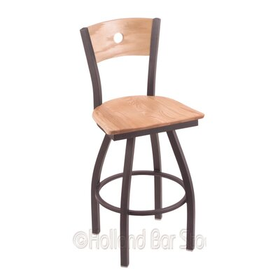 Voltaire 25 Swivel Bar Stool Base Finish: Pewter, Upholstery: Natural Oak