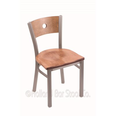 Voltaire Solid Wood Dining Chair Upholstery: Medium Maple, Base Finish: Stainless