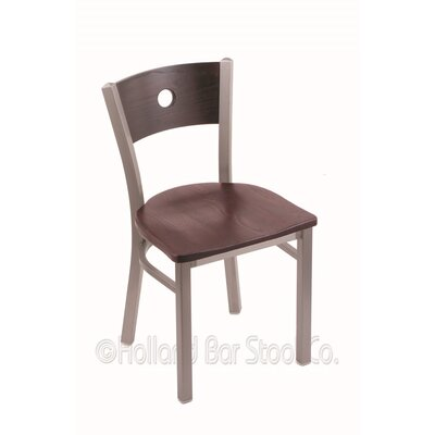 Voltaire Solid Wood Dining Chair Upholstery: Dark Cherry Oak, Base Finish: Stainless