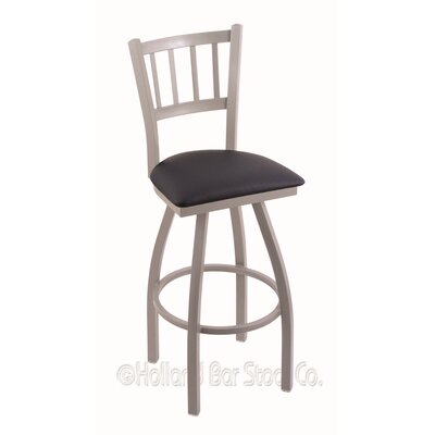 Contessa 36 Swivel Bar Stool Finish: Anodized Nickel, Upholstery: Allante Dark Blue