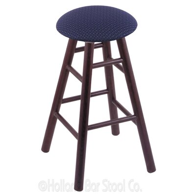 24 Swivel Bar Stool Finish: Dark Cherry Oak, Upholstery: Axis Denim