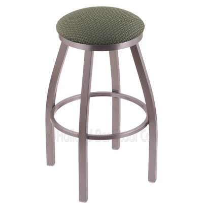 Furniture-Misha 25 Swivel Bar Stool with Cushion Seat Color Axis Grove, Finish Stainless