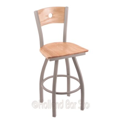 Voltaire 36 inch Swivel Bar Stool Base Finish: Anodized Nickel, Upholstery: Natural Oak