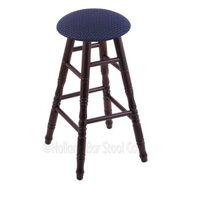24 Swivel Bar Stool Upholstery: Axis Denim, Finish: Dark Cherry Maple