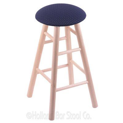 24 Swivel Bar Stool Finish: Natural Maple, Upholstery: Axis Denim