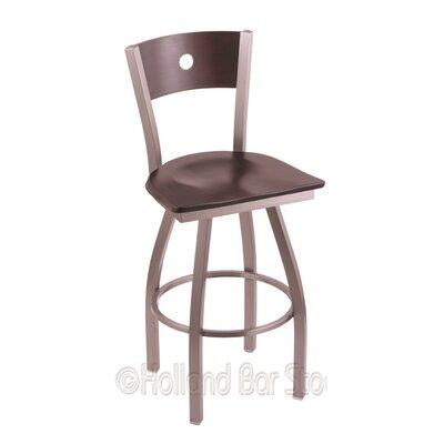 Voltaire 36 inch Swivel Bar Stool Upholstery: Dark Cherry Maple, Base Finish: Stainless