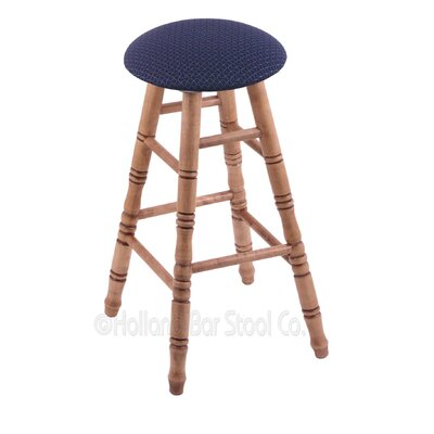24 Swivel Bar Stool Finish: Medium Maple, Upholstery: Axis Denim