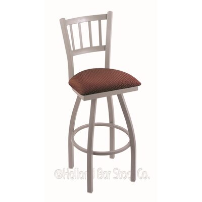 Contessa 36 Swivel Bar Stool Finish: Anodized Nickel, Upholstery: Axis Paprika