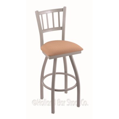 Contessa 30 inch Swivel Bar Stool Upholstery: Axis Summer, Finish: Anodized Nickel
