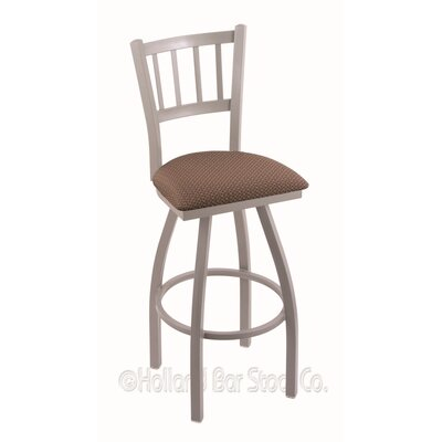 Contessa 25 Swivel Bar Stool Finish: Anodized Nickel, Upholstery: Axis Willow