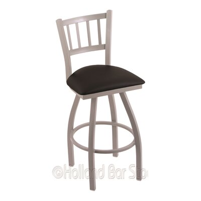 Contessa 36 Swivel Bar Stool Finish: Anodized Nickel, Upholstery: Black Vinyl