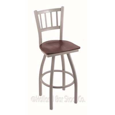 Contessa Swivel Bar Stool Base Finish: Anodized Nickel, Upholstery: Dark Cherry Oak