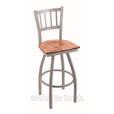 Contessa Swivel Bar Stool Base Finish: Anodized Nickel, Upholstery: Medium Maple