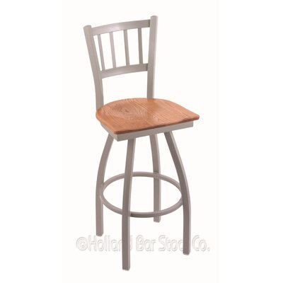 Contessa Swivel Bar Stool Upholstery: Medium Oak, Base Finish: Anodized Nickel