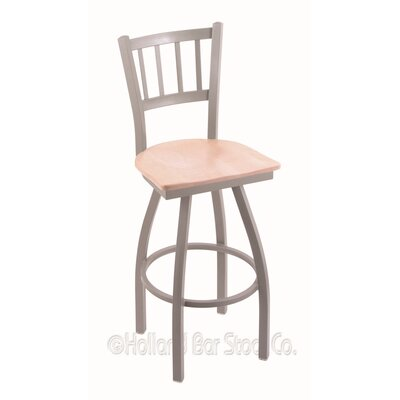 Contessa Swivel Bar Stool Upholstery: Natural Maple, Base Finish: Anodized Nickel