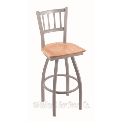 Contessa Swivel Bar Stool Upholstery: Natural Oak, Base Finish: Anodized Nickel